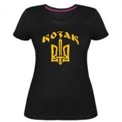 Женская стрейчевая футболка Козак з гербом