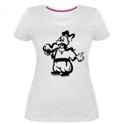 Жіноча стрейчева футболка Козак з люлькою