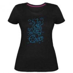Женская стрейчевая футболка Козак з м'ячем - FatLine