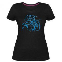 Женская стрейчевая футболка Козак з щитом - FatLine