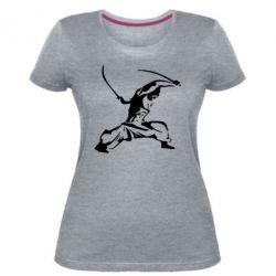 Женская стрейчевая футболка Козак з шаблями