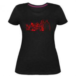 Женская стрейчевая футболка Козаки пишуть письмо султану - FatLine