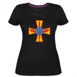 Жіноча стрейчева футболка Хрест з мечем та гербом