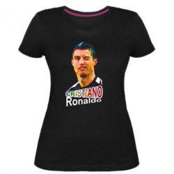 Жіноча стрейчева футболка Крістіано Роналдо, полігональний портрет
