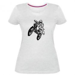 Жіноча стрейчева футболка Кросовий байк