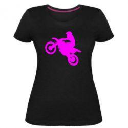 Женская стрейчевая футболка Кроссовый мотоцикл