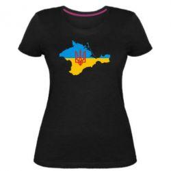 Женская стрейчевая футболка Крым это Украина - FatLine