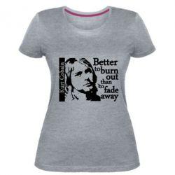 Купить Nirvana, Женская стрейчевая футболка Kurt Cobain, FatLine