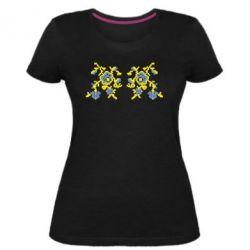 Женская стрейчевая футболка Квітковий орнамент - FatLine