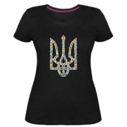 Женская стрейчевая футболка Квітучий герб України