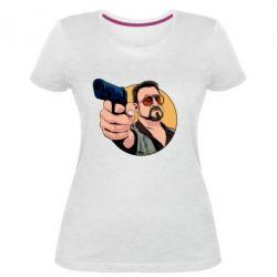 Жіноча стрейчева футболка Лебовськи з пістолетом
