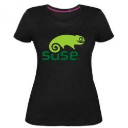Женская стрейчевая футболка Linux Suse