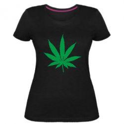 Жіноча стрейчева футболка Листочок марихуани