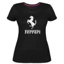 Женская стрейчевая футболка логотип Ferrari