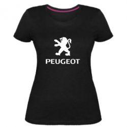 Женская стрейчевая футболка Логотип Peugeot