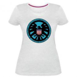 Женская стрейчевая футболка Логотип Щита