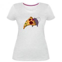 Женская стрейчевая футболка Love Pizza 2