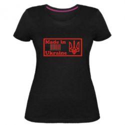 Женская стрейчевая футболка Made in Ukraine штрих-код - FatLine