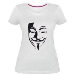 Женская стрейчевая футболка Маска Вендетта - FatLine