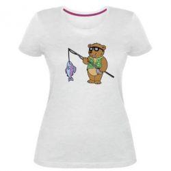 Жіноча стрейчева футболка Ведмідь ловить рибу