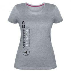 Женская стрейчевая футболка Mercedes GP Vert