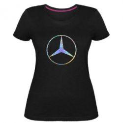 Жіноча стрейчева футболка Mercedes Лого Голограма
