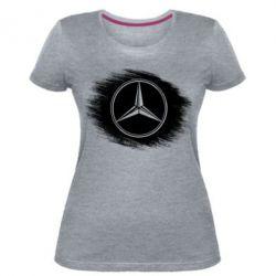 Женская стрейчевая футболка Мерседес арт, Mercedes art