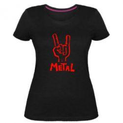 Женская стрейчевая футболка Metal - FatLine