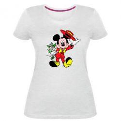 Жіноча стрейчева футболка Міккі Джентельмен