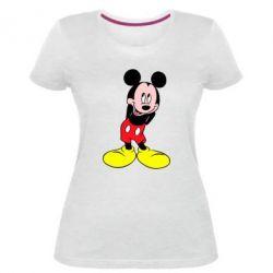 Жіноча стрейчева футболка Міккі Маус соромиться
