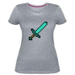 Жіноча стрейчева футболка Minecraft меч