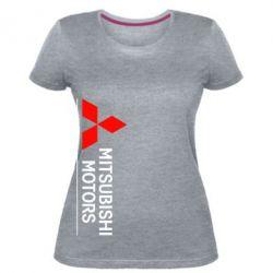 Женская стрейчевая футболка Mitsubishi Motors лого