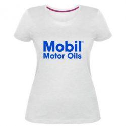 Женская стрейчевая футболка Mobil Motor Oils