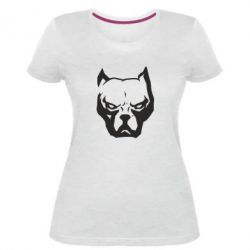 Жіноча стрейчева футболка Морда пітбуля