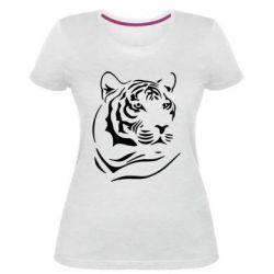 Женская стрейчевая футболка Морда тигра