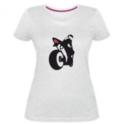 Жіноча стрейчева футболка Мотоцикліст на спорті