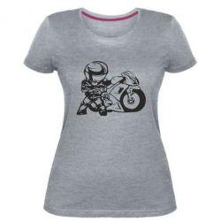 Женская стрейчевая футболка Мотоциклист - FatLine
