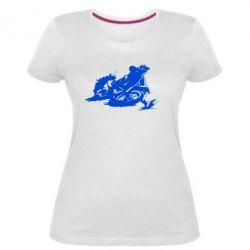 Жіноча стрейчева футболка Мотокрос лого