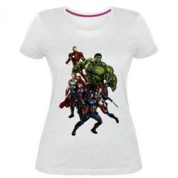Жіноча стрейчева футболка Месники Фан Арт - FatLine