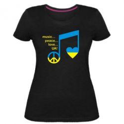 Женская стрейчевая футболка Music, peace, love UA