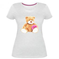 Жіноча стрейчева футболка М'який ведмедик