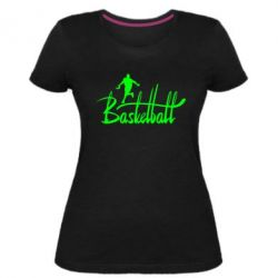 Купить Женская стрейчевая футболка Надпись Баскетбол, FatLine