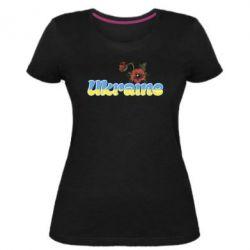 Женская стрейчевая футболка Надпись Украина с цветами