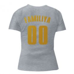 Женская стрейчевая футболка Name and number (silver and gold)