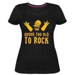 Женская стрейчевая футболка Never old to rock (Gomer) - FatLine