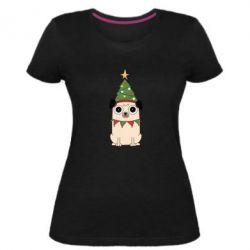 Жіноча стрейчева футболка New Year's Pug
