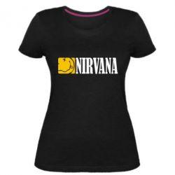 Женская стрейчевая футболка Nirvana смайл