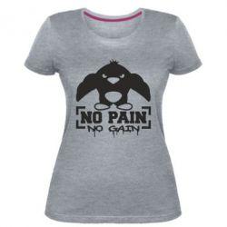 Женская стрейчевая футболка No pain no gain пингвин
