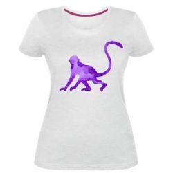 Женская стрейчевая футболка Обезьяна акварельная - FatLine