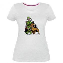 Жіноча стрейчева футболка Мисливець з собакою